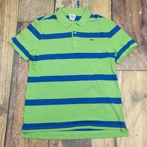 Lacoste Polo Green and Blue Stripes Size 6 Large